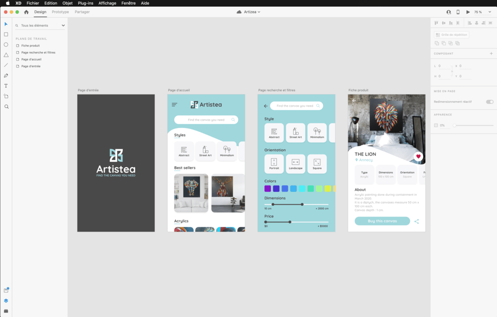 adobe XD, design, UX design, webdesign, maquettage, maquette, application web, application mobile, annecy, geneve