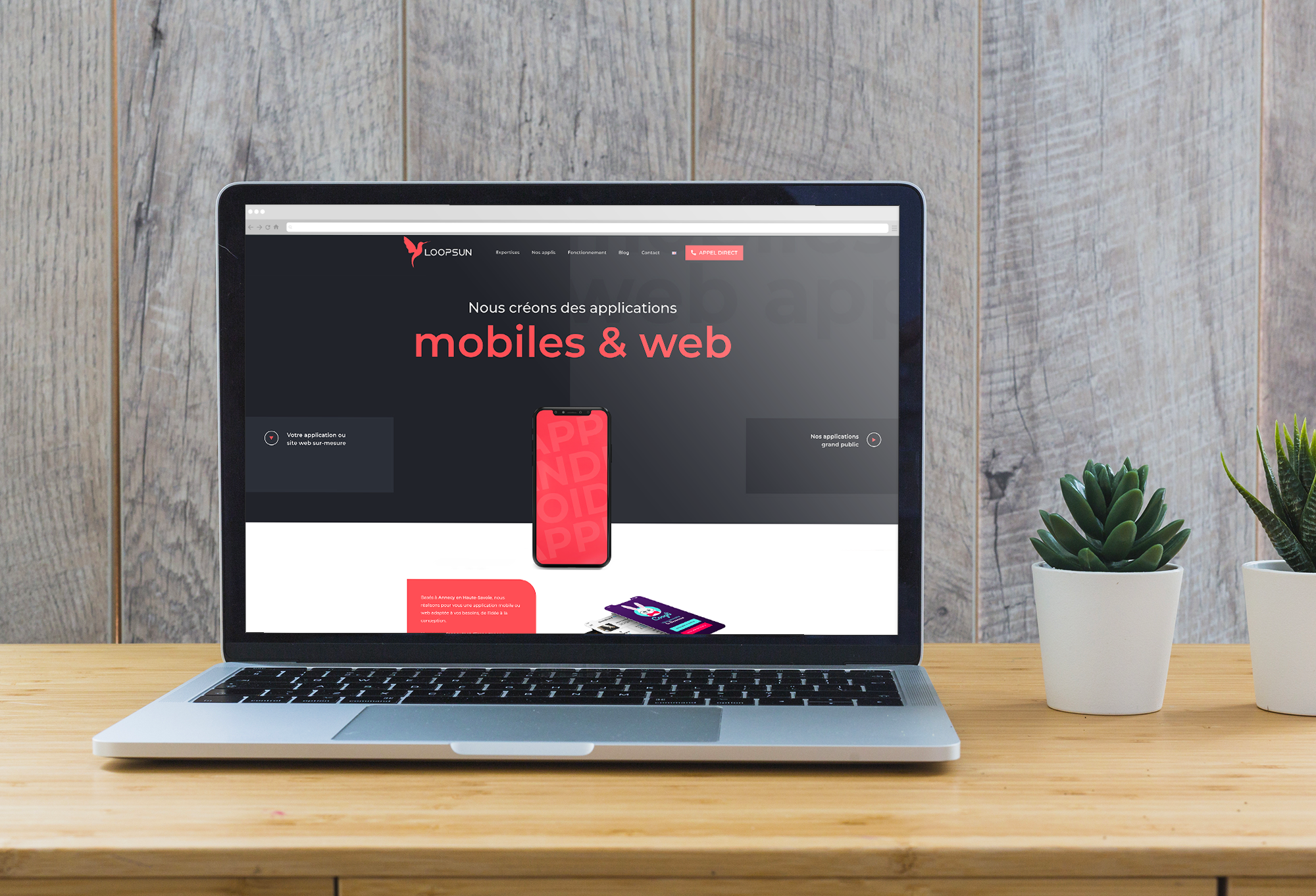Site internet sur-mesure Loopsun, développeurs d'applications mobiles